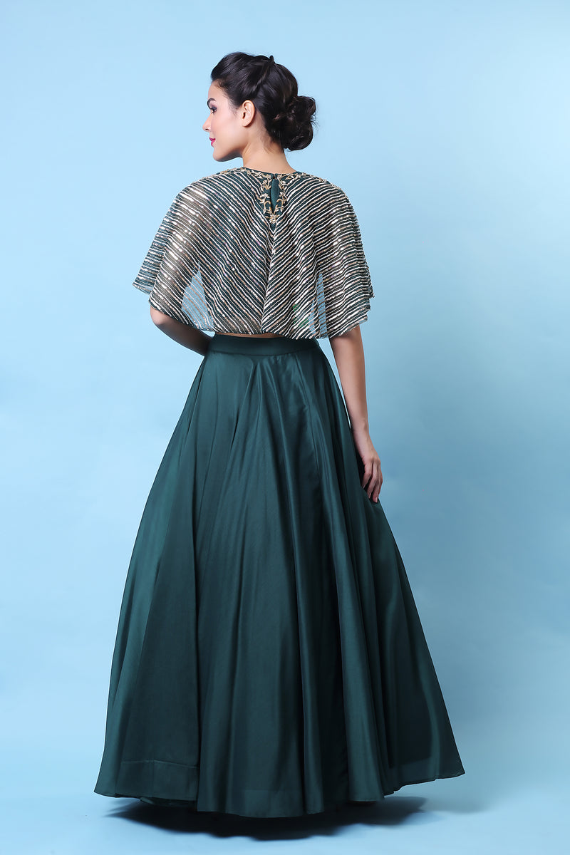 KHALOM EMERALD EMBROIDERED CAPE SKIRT SET