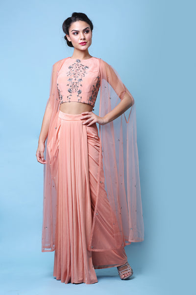 Peach Drape Cape Set