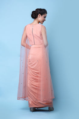 KHALOM PEACH DRAPE CAPE SET