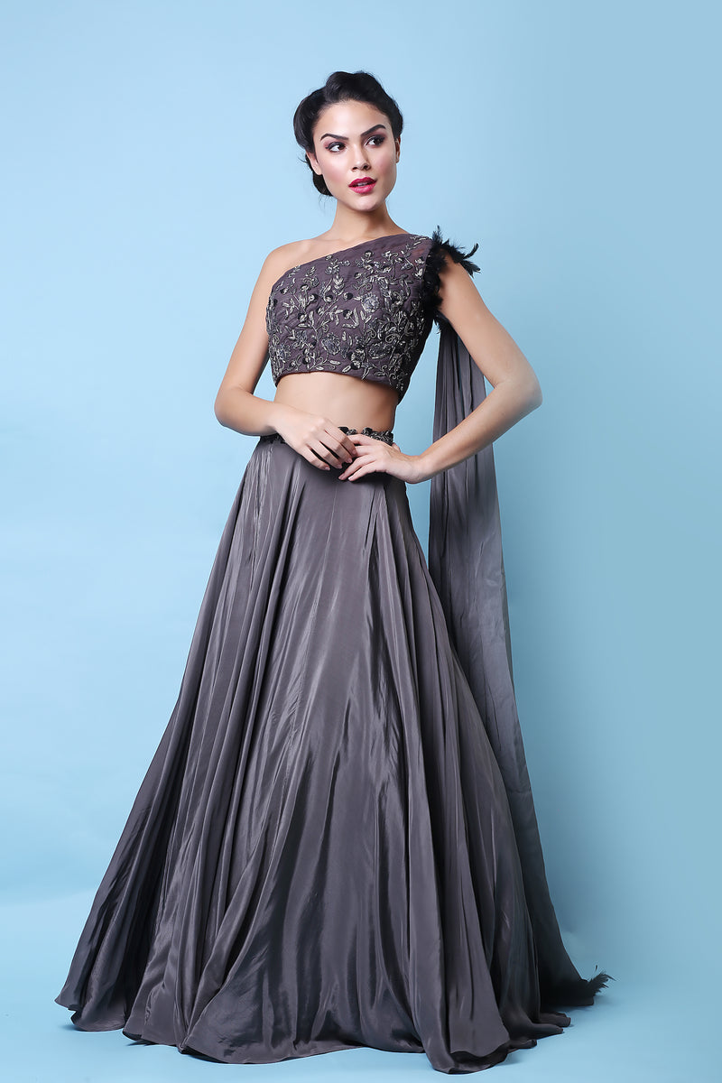 Khalom - Charcoal Gray One-Shoulder Lehenga Set - INDIASPOPUP.COM