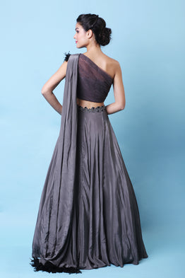 KHALOM CHARCOAL GRAY ONE-SHOULDER LEHENGA SET