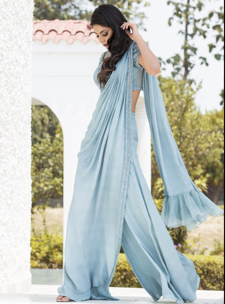 DHEERU AND NITIKA ICE BLUE KNOTTED DRAPED SAREE