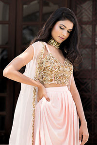 DHEERU AND NITIKA ROSE PINK EMBROIDERED CAPE SET