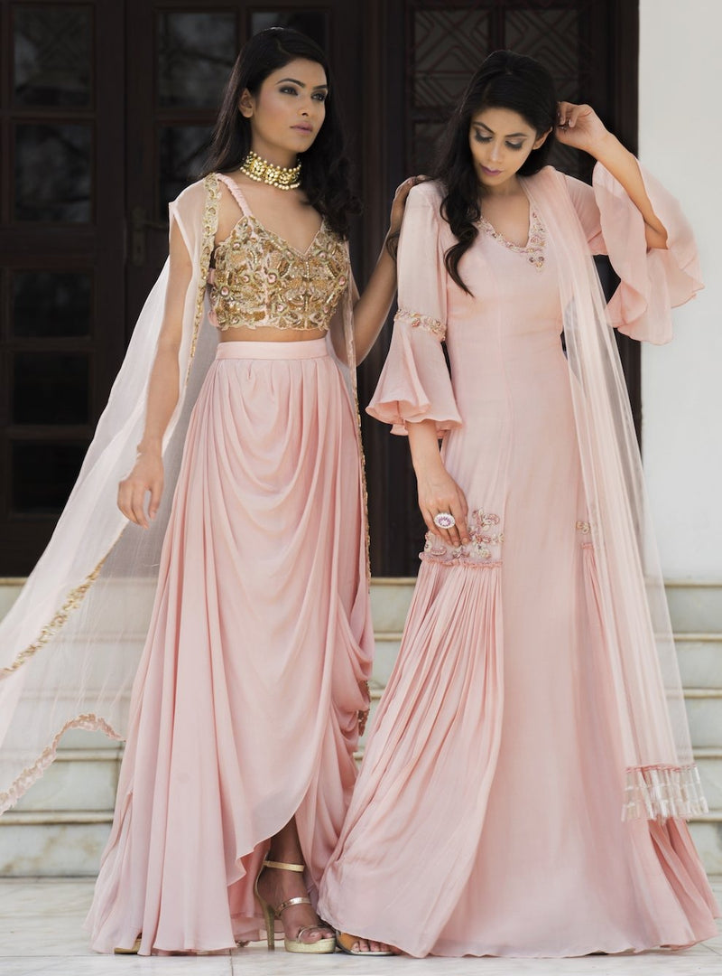 Dheeru And Nitika - Rose Pink Embroidered Cape Set - INDIASPOPUP.COM