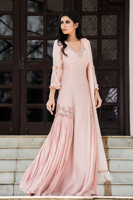 DHEERU AND NITIKA ROSE PINK EMBROIDERED KURTA SET