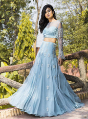 Dheeru And Nitika - Blue Embroidered Lehenga Set - INDIASPOPUP.COM