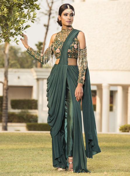 DHEERU AND NITIKA DARK GREEN EMBROIDERED DRAPED SAREE