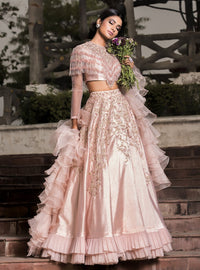 DHEERU AND NITIKA ROSE PINK TASSELED LEHENGA SET