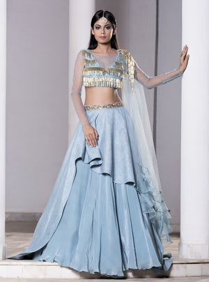 DHEERU AND NITIKA ICE BLUE LAYERED LEHENGA SET