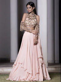 Dheeru And Nitika - Rose Pink Layered Lehenga Set - INDIASPOPUP.COM