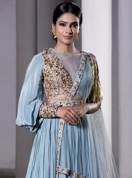 DHEERU AND NITIKA ICE BLUE EMBROIDERED TULLE LEHENGA SET