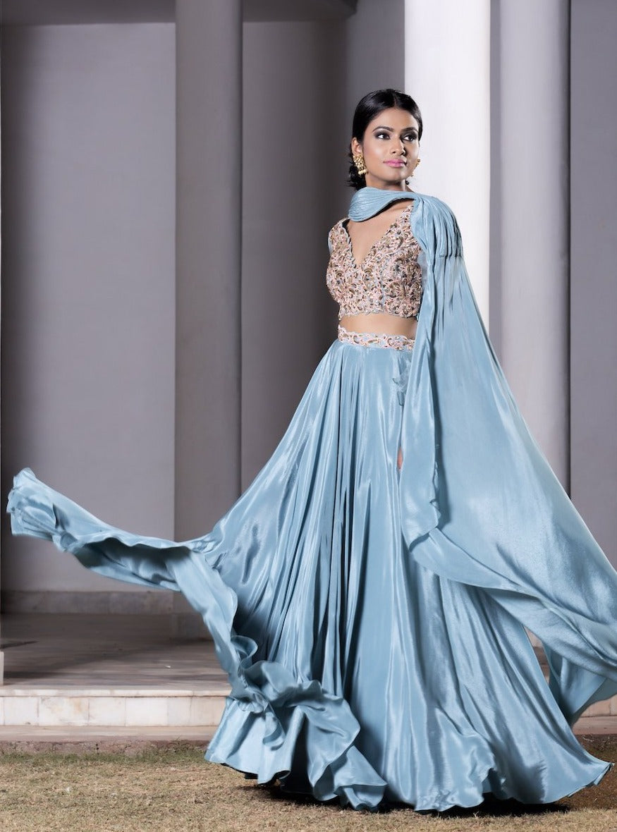 Dheeru and Nitika - Blue Embroidered Lehenga With Attached Dupatta Set - INDIASPOPUP.COM
