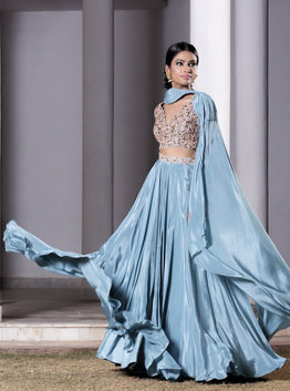 DHEERU AND NITIKA BLUE EMBROIDERED LEHENGA WITH ATTACHED DUPATTA SET