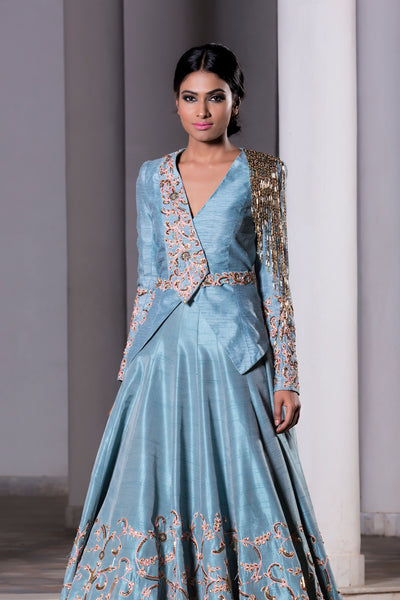 DHEERU AND NITIKA ICE BLUE TRAIL LEHENGA & JACKET SET