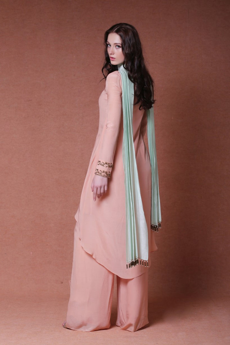 Dheeru And Nitika - Embroidered Asymmetric Palazzo Suit Set - INDIASPOPUP.COM