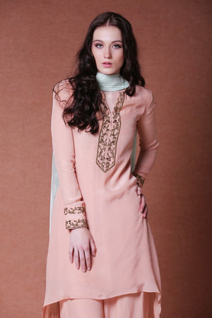 DHEERU AND NITIKA EMBROIDERED ASYMMETRIC PALAZZO SUIT SET