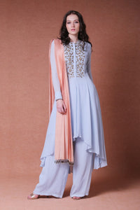 DHEERU AND NITIKA EMBROIDERED ASYMMETRIC TUNIC WITH PALAZZO SET