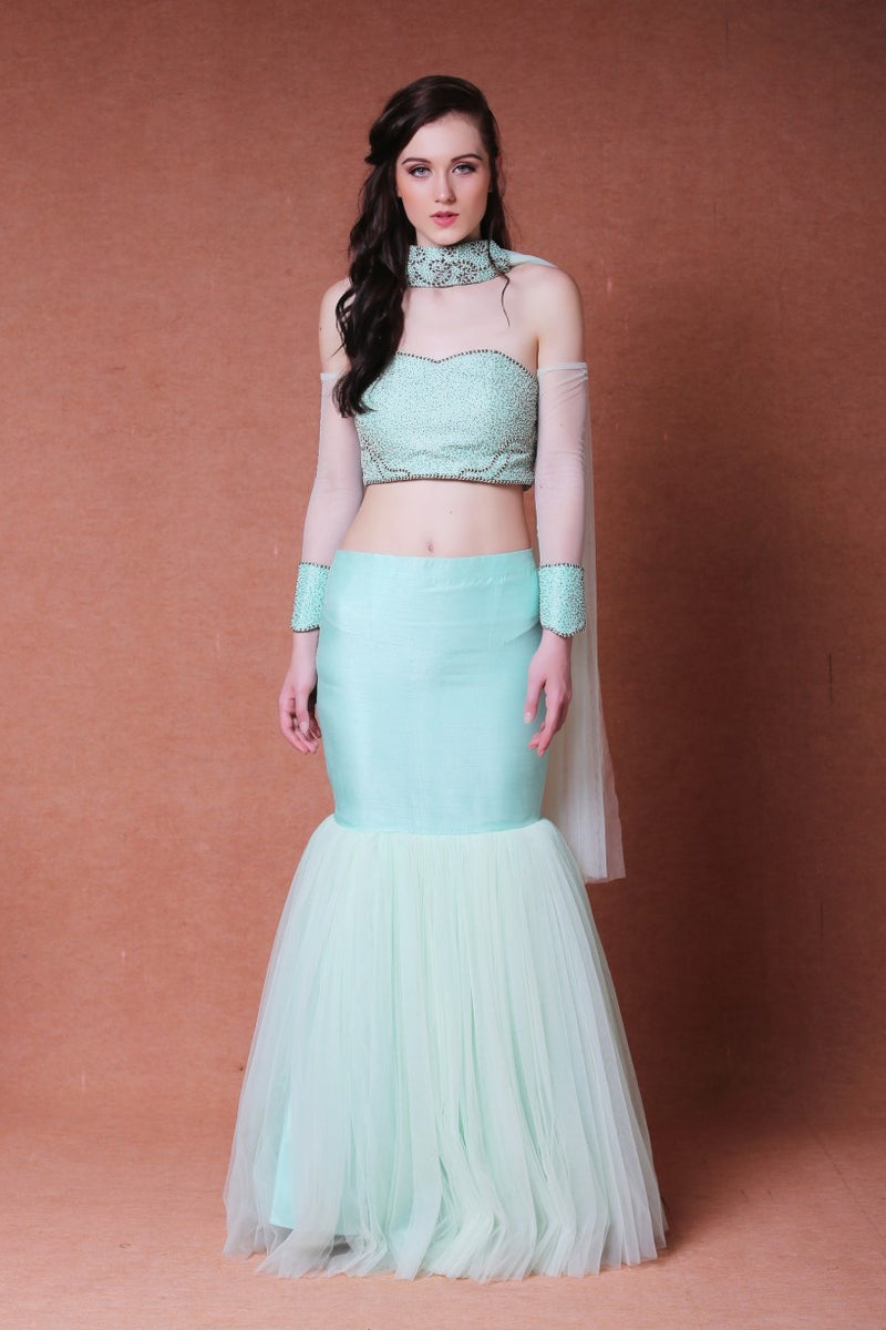 DHEERU AND NITIKA MERMAID CUT LEHENGA SET