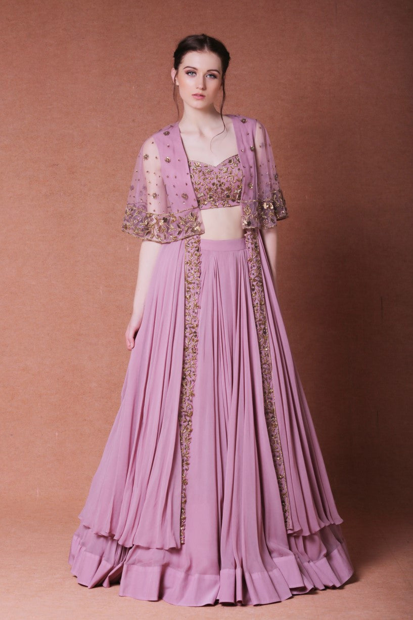 embroidered lehenga with long cape set