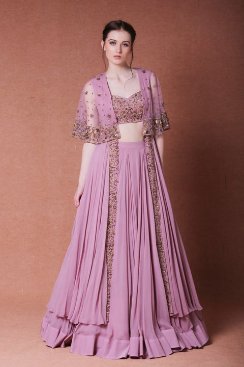 Nitika Kanodia Gupta - Embroidered Lehenga With Long Cape Set - INDIASPOPUP.COM