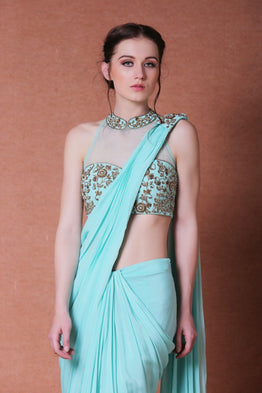Green drape saree