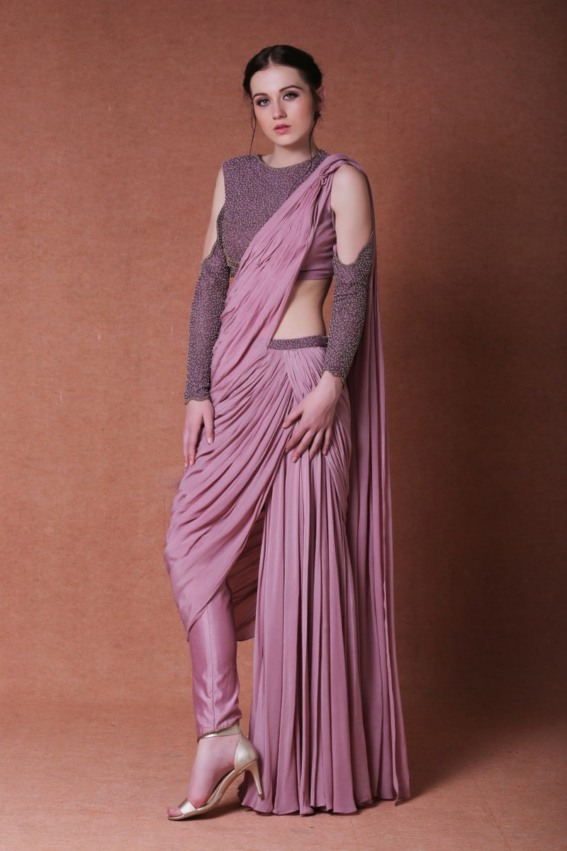 DHEERU AND NITIKA EMBROIDERED BLOUSE WITH SAREE