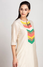 Am:Pm-Ivory Tunic In Chanderi-INDIASPOPUP.COM