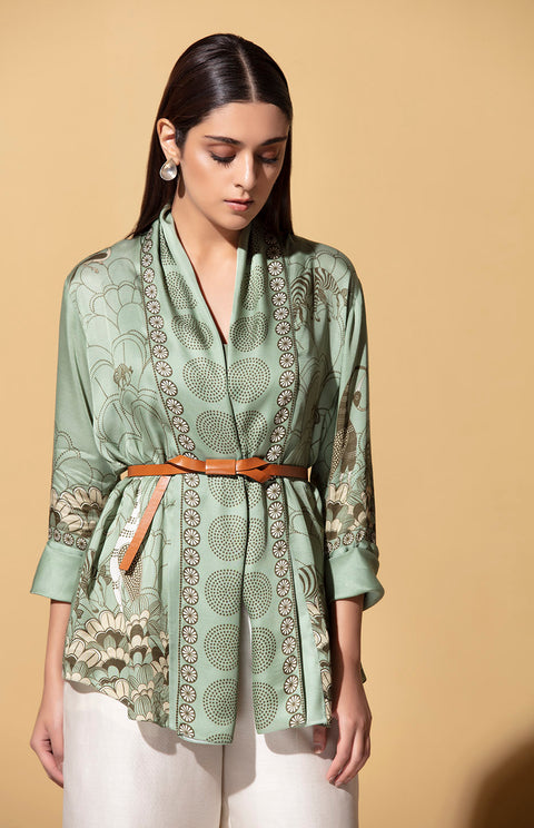 Am:Pm-Sage Green Shirt With Belt-INDIASPOPUP.COM