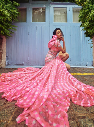 Papa Don'T Preach By Shubhika - Pink Leheriya Embroidered Skirt Set - INDIASPOPUP.COM