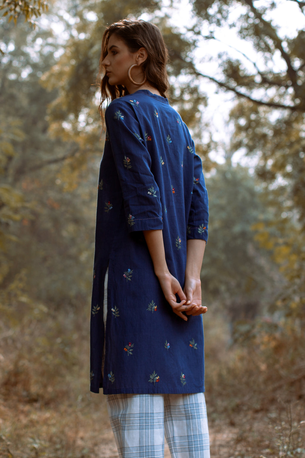 Payal Pratap-Navy Rainey Embroidered Tunic-INDIASPOPUP.COM