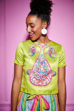 Siddhartha Bansal-Green Embroidered Big Paisley Top-INDIASPOPUP.COM