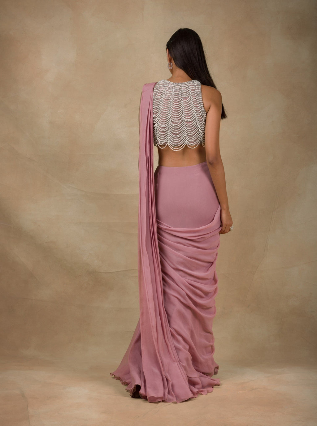 Onion Pink Embroidered Drape Saree