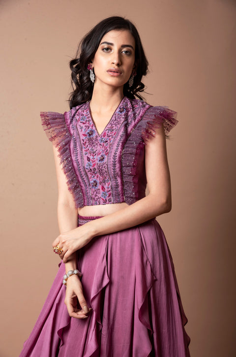 K-Anshika-Pink Ruffled Skirt With Frill Crop Top-INDIASPOPUP.COM