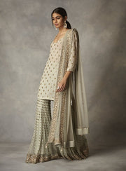 Zoraya-Aqua Embroidered Sharara Set-INDIASPOPUP.COM