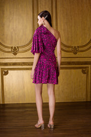 Kangana Trehan-Fuchsia Print One-Shoulder Dress-INDIASPOPUP.COM