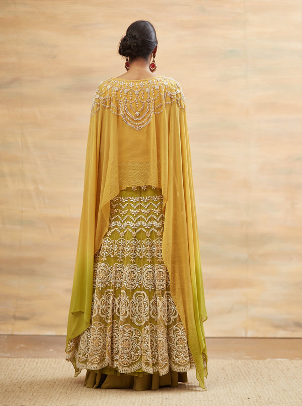 Kavita Bhartia-Yellow Embroidered Cape Style Anarkali-INDIASPOPUP.COM