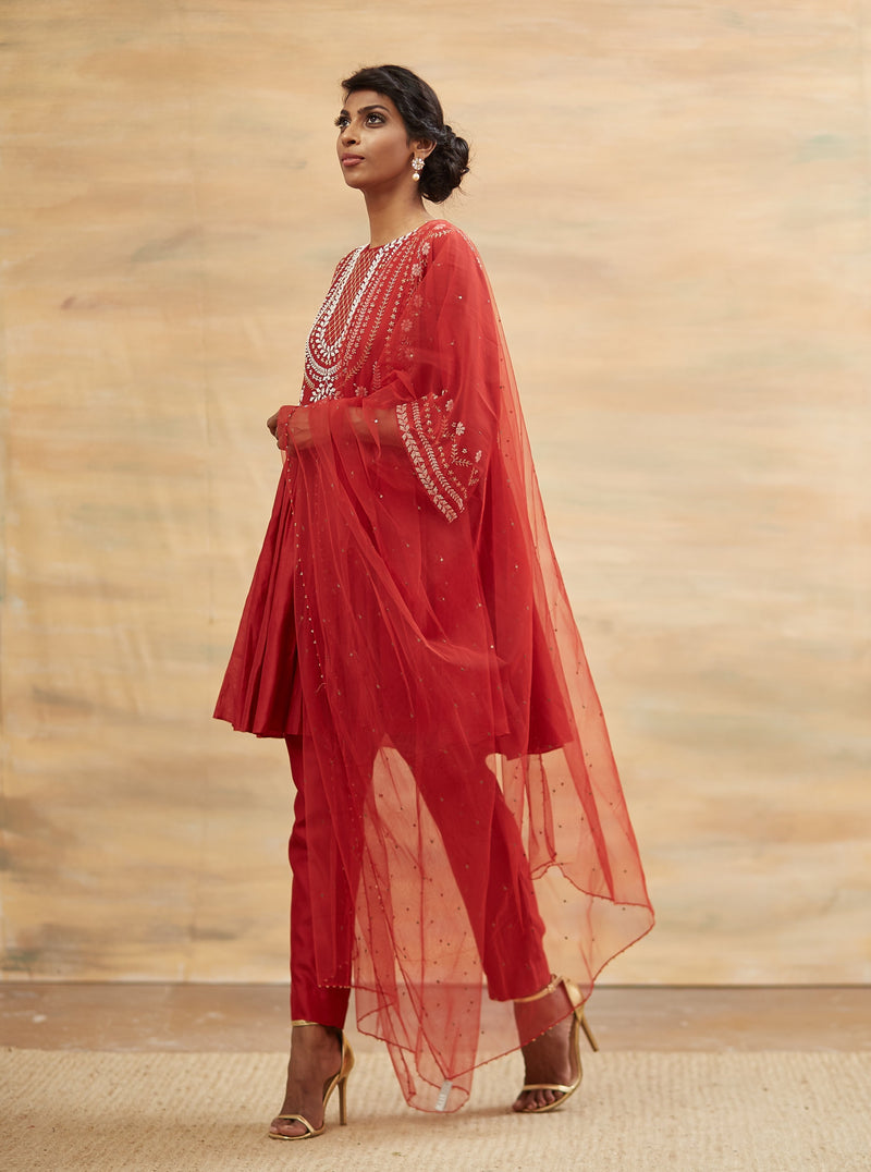 Kavita Bhartia-Red Hand Embroidered Short Kurta Set-INDIASPOPUP.COM