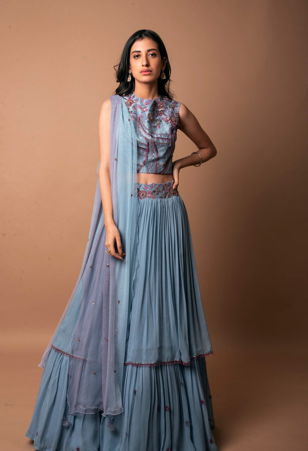 K-Anshika-Ice Blue Layered Skirt & Frilled Crop Top-INDIASPOPUP.COM