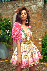 Papa Don'T Preach By Shubhika - Pink & Ivory Dip-Dyed Baby Doll Silk Dress - INDIASPOPUP.COM