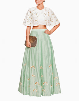 Off White Cape Blouse and Embroidered Sea Green Lehenga