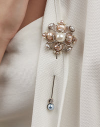 Outhouse-Rose Gold Riviera Pearl Brooch-INDIASPOPUP.COM