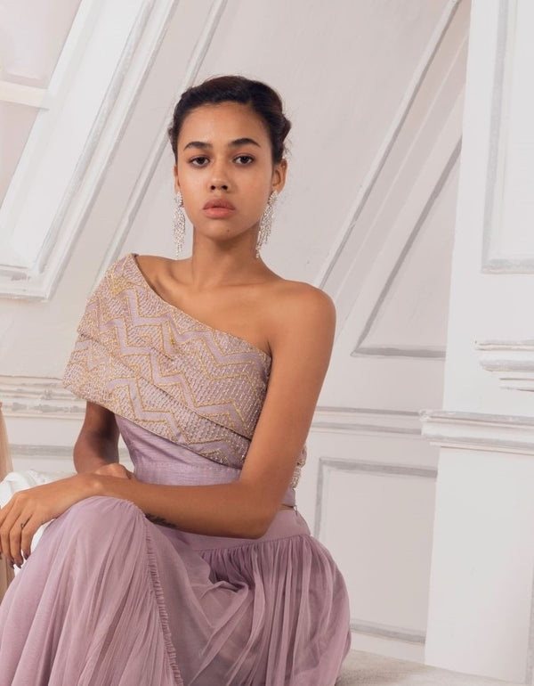Charu & Vasundhara-Lavender Double Layer Top With Skirt-INDIASPOPUP.COM