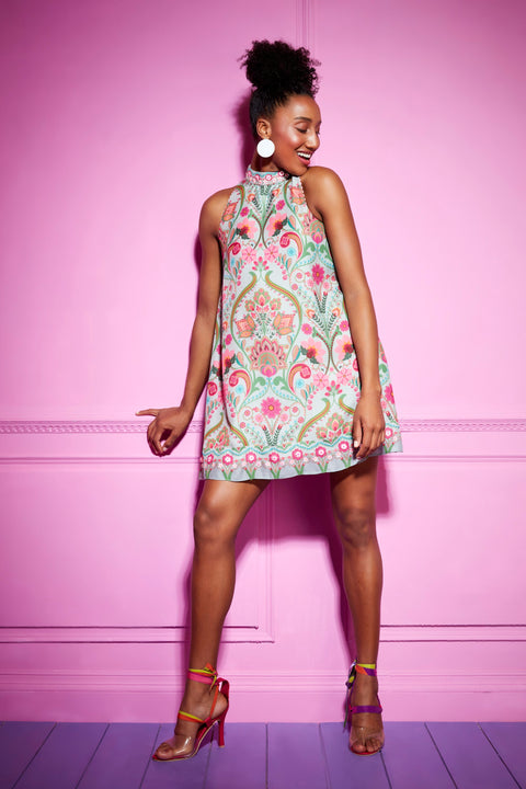 Siddhartha Bansal-Grey Paisley Short Dress-INDIASPOPUP.COM