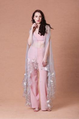 Pink Embellished Cape with Pants