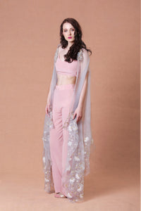 Mahima Mahajan - Pink Embellished Cape With Pants - INDIASPOPUP.COM