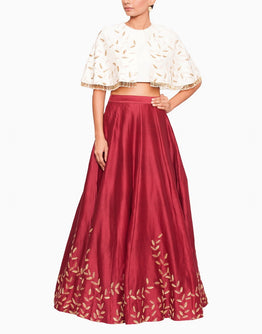 Off White Cape Blouse and Embroidered  Maroon Lehenga