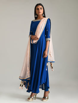 Moroccan Blue Anarkali Set