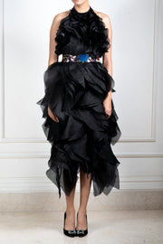 Shriya Som-Black Halter Ruffle Dress With Belt-INDIASPOPUP.COM