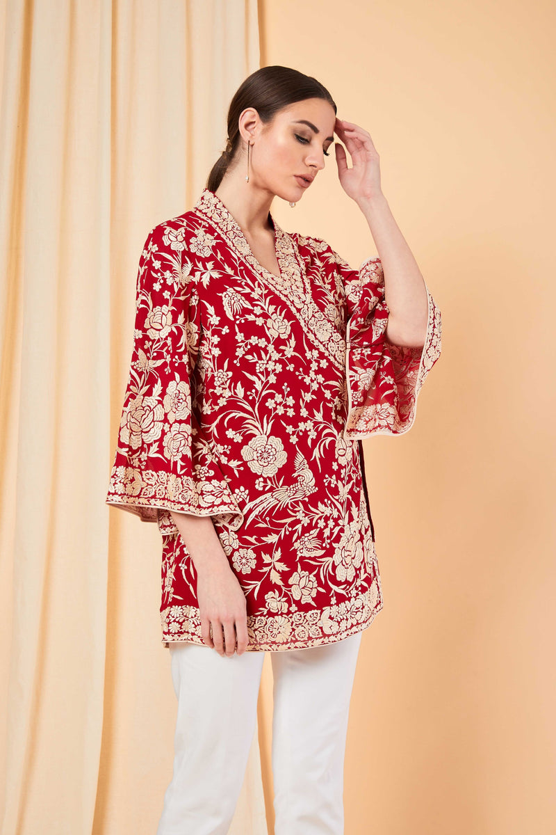 Patine-Red Zarin Wrap Top-INDIASPOPUP.COM