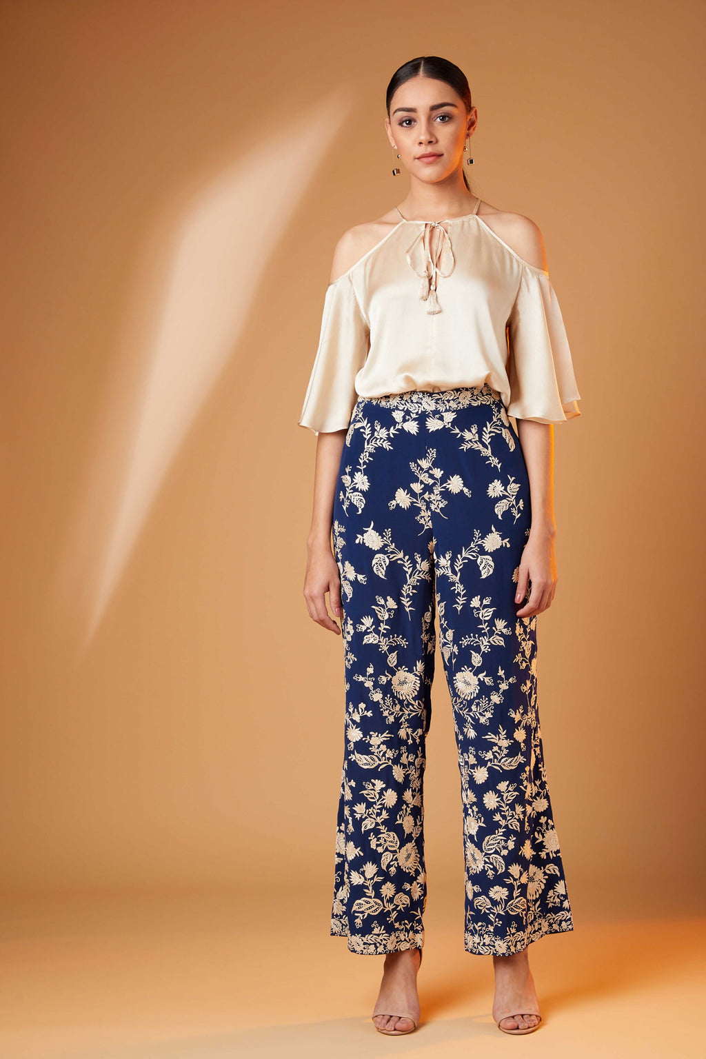 Patine-Blue Gara Straight Pants-INDIASPOPUP.COM
